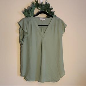 Chaus New York Olive Polyester Top, SZ M